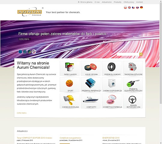 screen strony www.aurumchemicals.pl - Oferta firmy. Technologie: backend (symfony1)